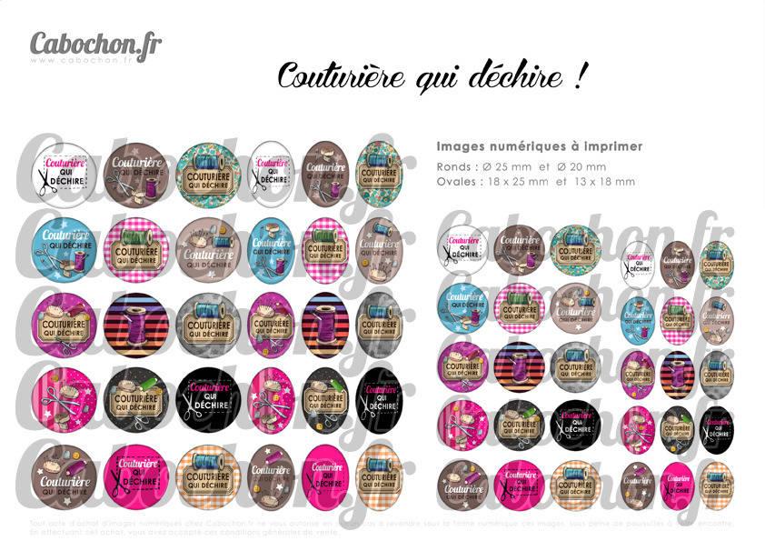 ° Couturière qui déchire ! ° - Page digitale pour cabochons - 60 images numériques  à imprimer