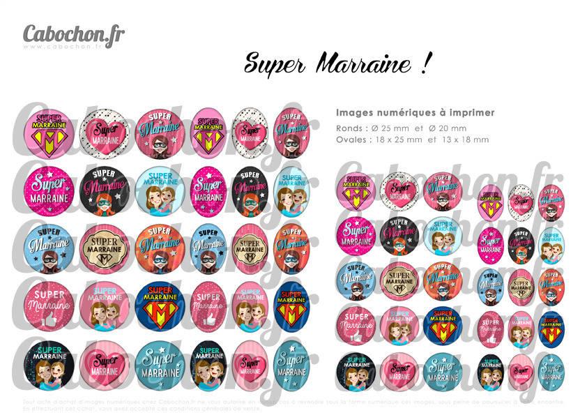 Super Marraine ☆ 60 Images Digitales Numériques RONDES 25 et 20 mm OVALES 18x25 et 13x18 mm maman tata tatie page cabochon cabochons