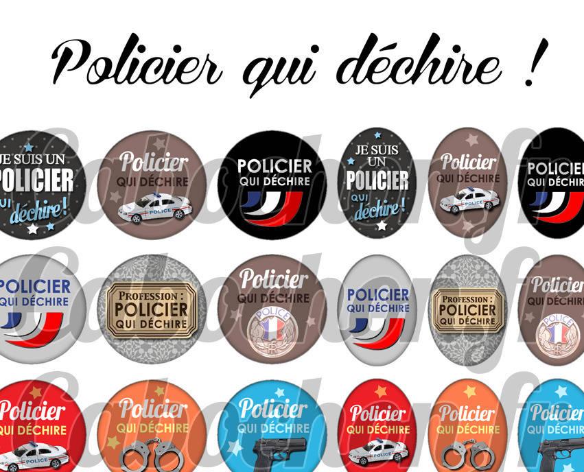 ° Policier qui déchire ! ° - Page de collage digital cabochons - 60 images à imprimer