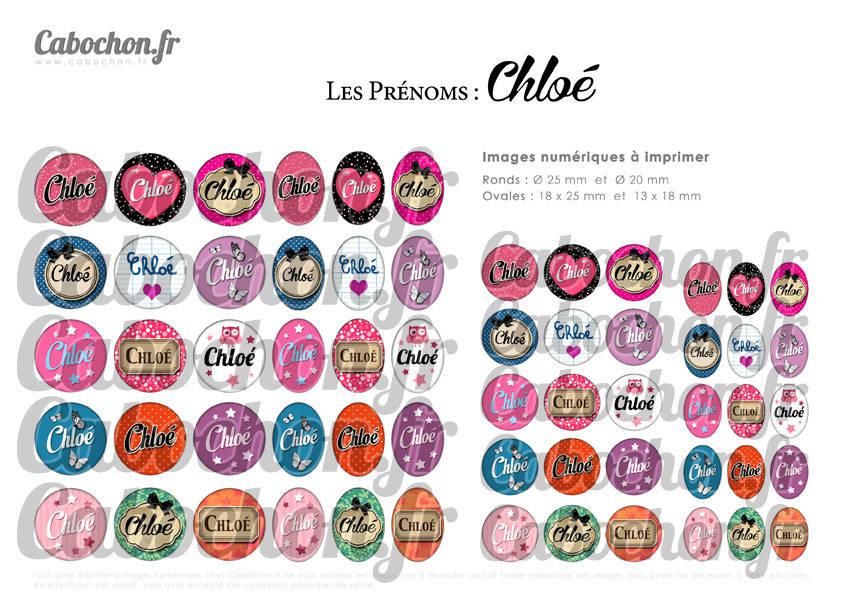 ° Les Prénoms : Chloé ° - Page de collage digital cabochons - 60 images à imprimer