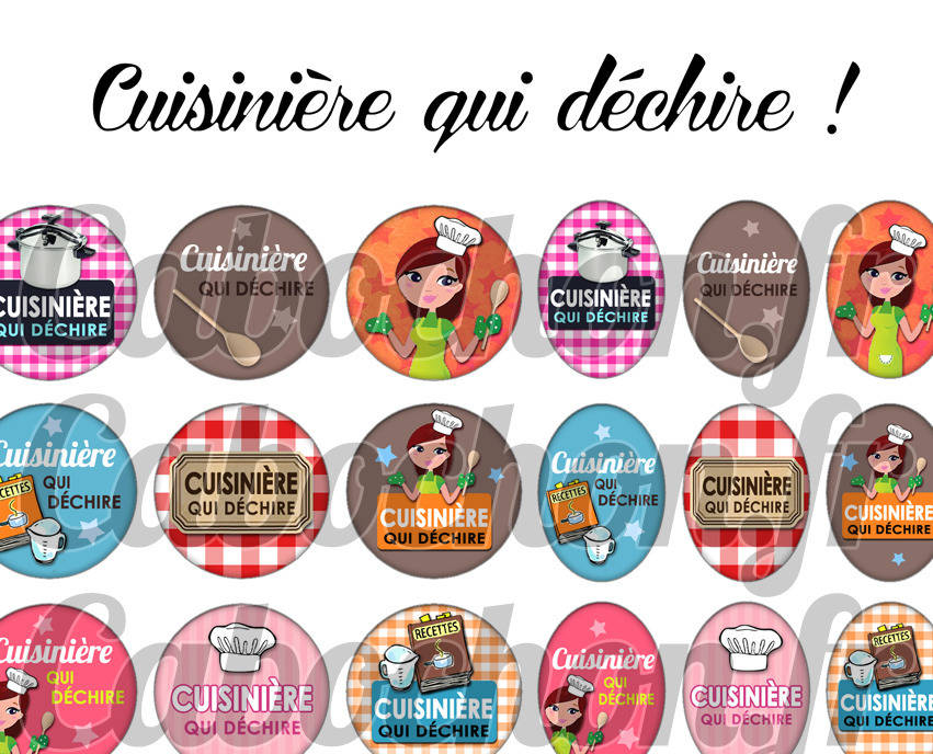 ° Cuisinière qui déchire ! ° - Page digitale pour cabochons - 60 images numériques  à imprimer