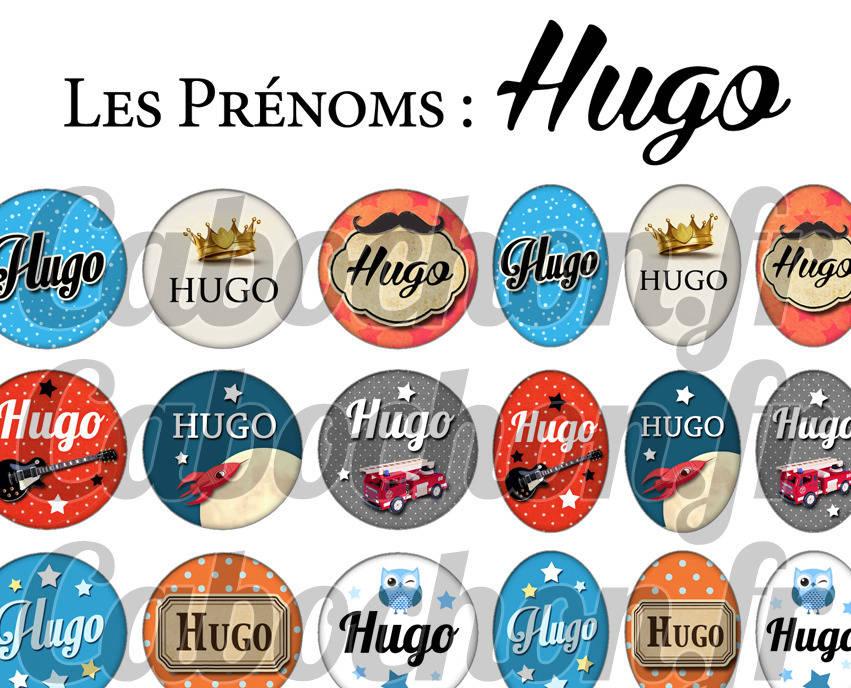 ° Les Prénoms : Hugo ° - Page de collage digital cabochons - 60 images à imprimer