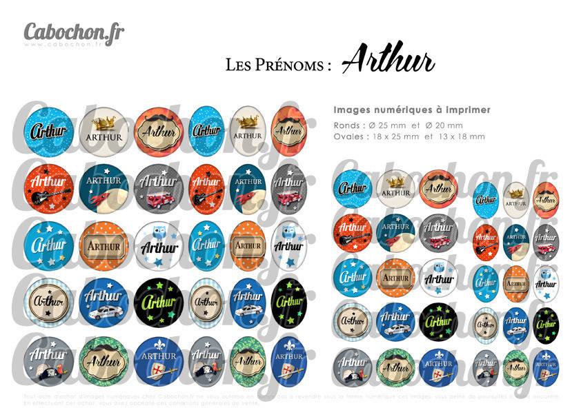 ° Les Prénoms : Arthur ° - Page de collage digital cabochons - 60 images à imprimer
