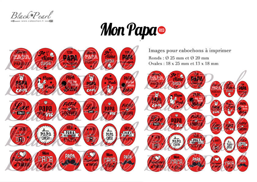 ° Mon Papa • Red ° - Page de collage digital cabochons - 60 images à imprimer