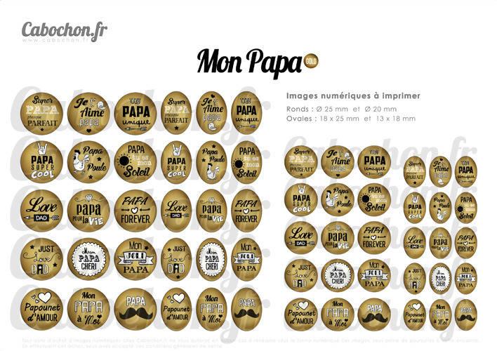 Mon Papa Gold ☆ 60 Images Digitales RONDES 25 et 20 mm OVALES 18x25 et 13x18 mm pere or doré poule super genial cabochon