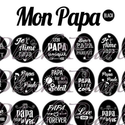 ° mon papa • black ° - page de collage digital cabochons - 60 images numériques à imprimer