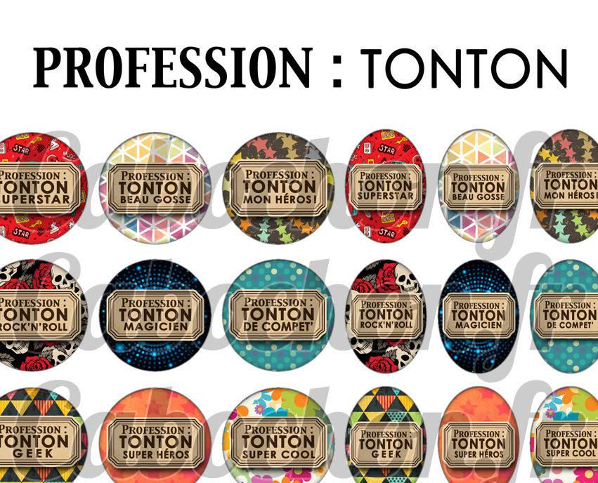 ° Profession : Tonton ° - Page de collage digital cabochons - 60 images