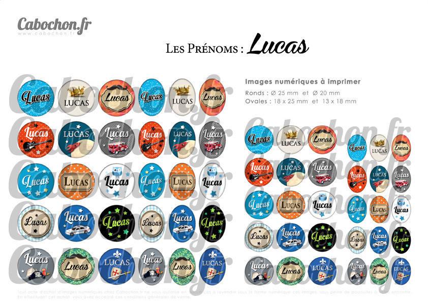 ° Les Prénoms : Lucas ° - Page de collage digital cabochons - 60 images à imprimer