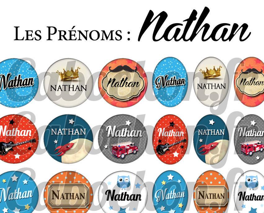 ° Les Prénoms : Nathan ° - Page de collage digital cabochons - 60 images à imprimer