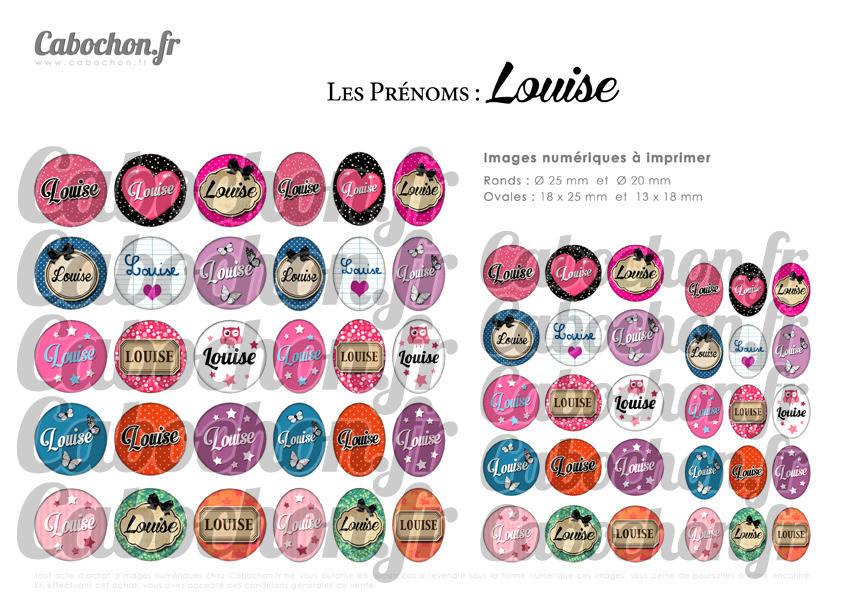 ° Les Prénoms : Louise ° - Page de collage digital cabochons - 60 images à imprimer