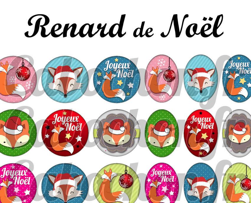 ° Renard de Noël ° - Page de collage digital cabochons - 60 images numériques à imprimer