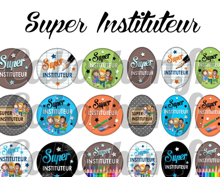 ° Super Instituteur ° - Page de collage digital cabochons - 60 images numériques à imprimer