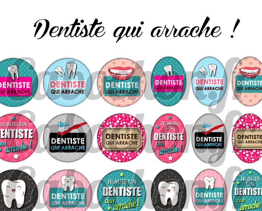 ° Dentiste qui arrache ! °  - Page digitale pour cabochons - 60 images numériques à imprimer