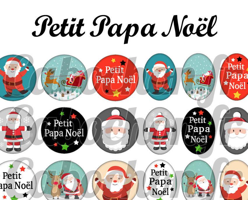 ° Petit Papa Noël ° - Page de collage digital cabochons - 60 images numériques à imprimer