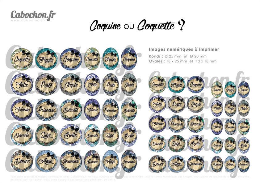 ° Coquine ou Coquette ? lll ° - Page de collage digital cabochons - 60 images numériques à imprimer
