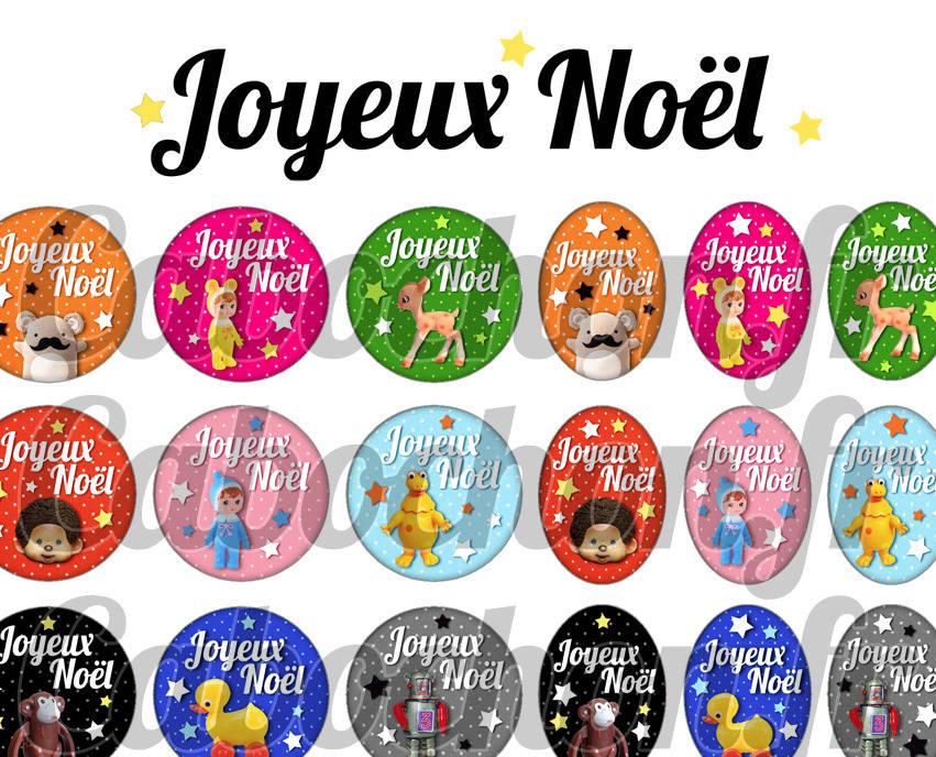 ° Joyeux Noël lV ° - Page de collage digital cabochons - 60 images numériques à imprimer