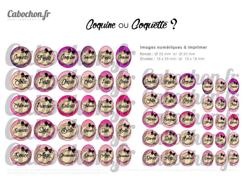 ° Coquine ou Coquette ? ll ° - Page de collage digital cabochons - 60 images numériques à imprimer
