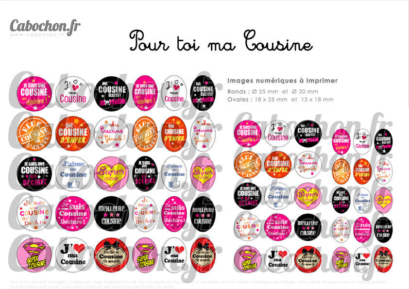 ° Pour toi ma Cousine ° - Page de collage digital cabochons - 60 images numériques  à imprimer