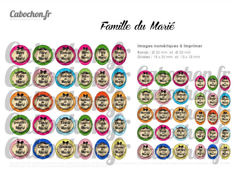 ° Famille du Marié ° - Page de collage digital cabochons - 60 images numériques à imprimer