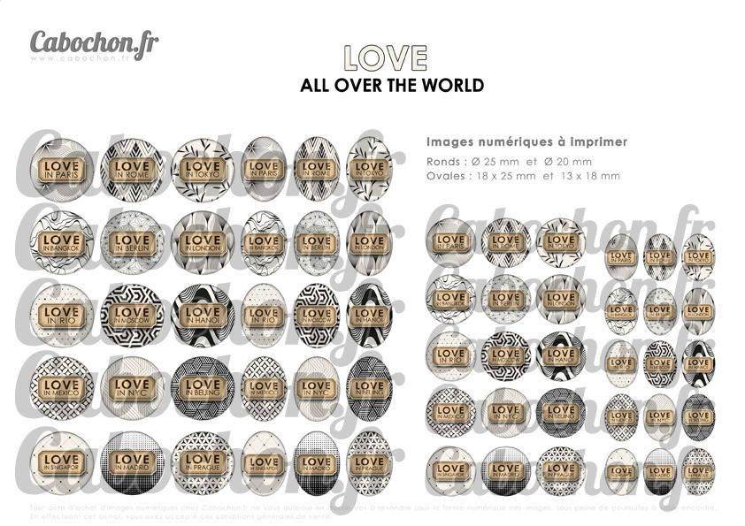 ° LOVE all over the World ° - Page de collage digital cabochons - 60 images à imprimer