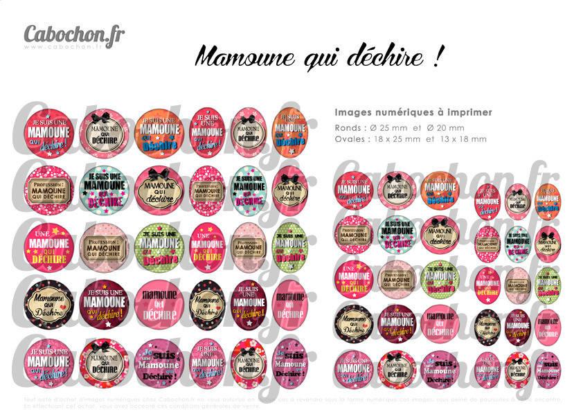 ° Mamoune qui déchire ! ° - Page de collage digital cabochons - 60 images numériques  à imprimer