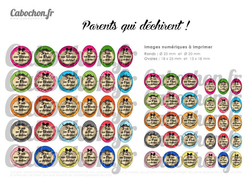 ° Parents qui déchirent ! ° - Page de collage digital cabochons - 60 images numériques à imprimer