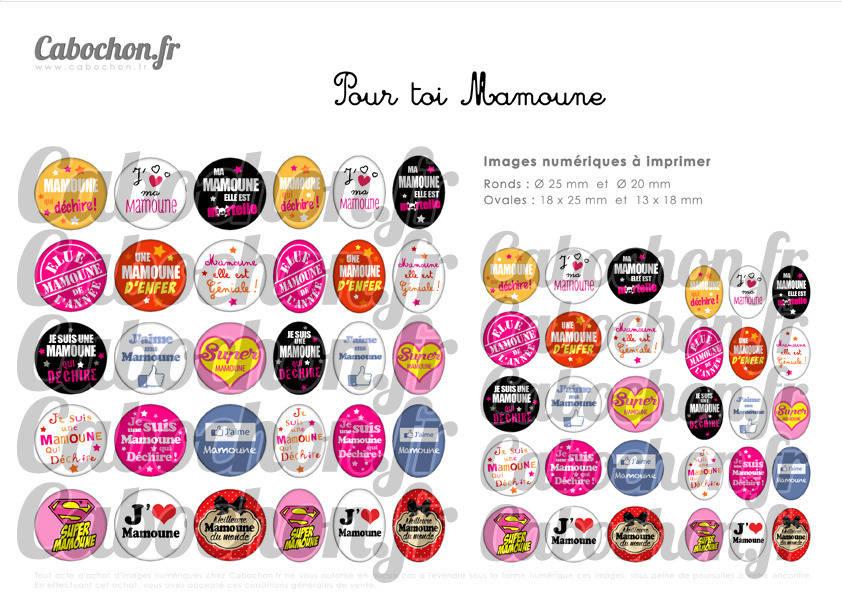 ° Pour toi Mamoune ° - Page de collage digital cabochons - 60 images numériques à imprimer