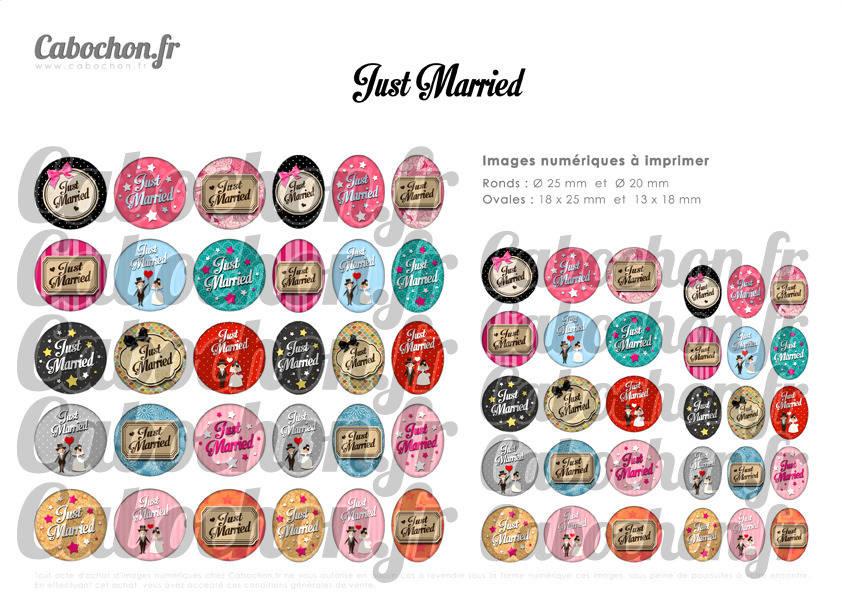 ° Just Married ° - Page de collage digital cabochons - 60 images à imprimer