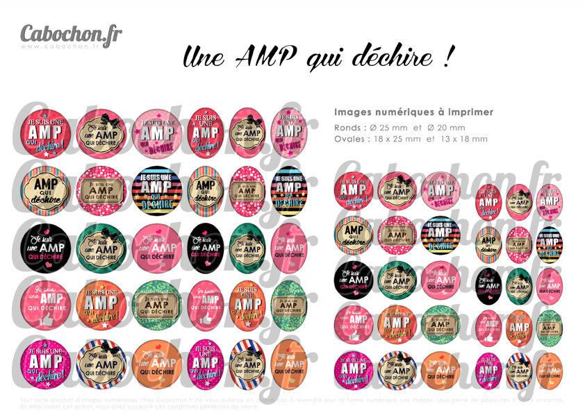 ° Une AMP qui déchire ! °  - Page digitale pour cabochons - 60 images à imprimer