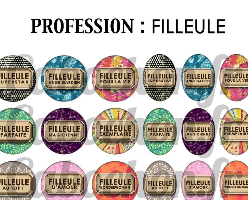 ° PROFESSION : Filleule ° - Page digitale pour cabochons - 60 images à imprimer