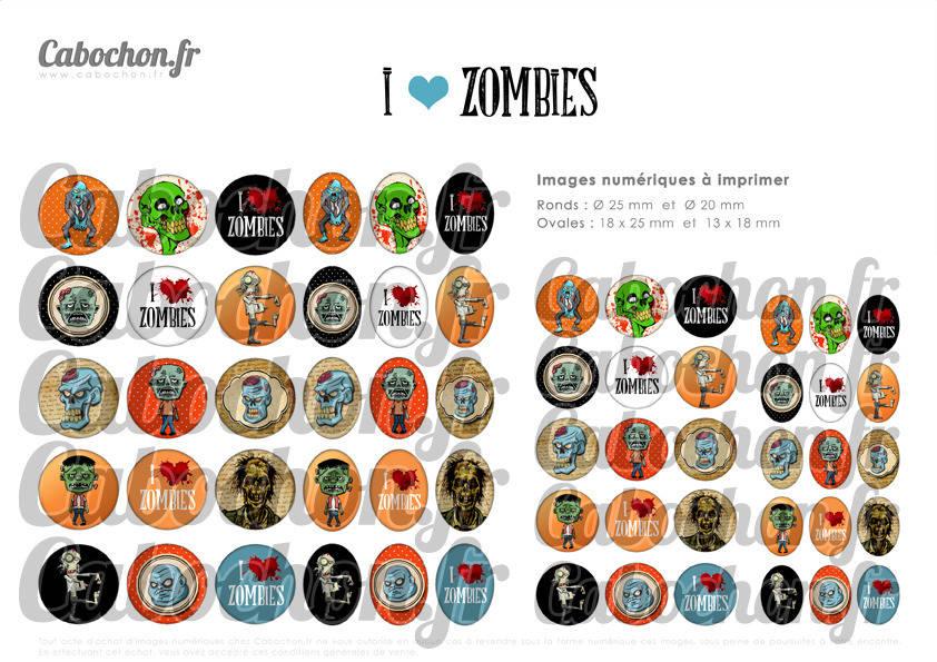 ° I LOVE ZOMBIES ° - Page de collage digital cabochons - 60 images numériques à imprimer