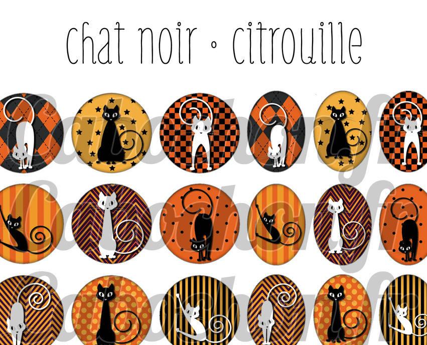 ° Chat Noir • Citrouille ° - Page de collage digital cabochons - 60 images numériques à imprimer