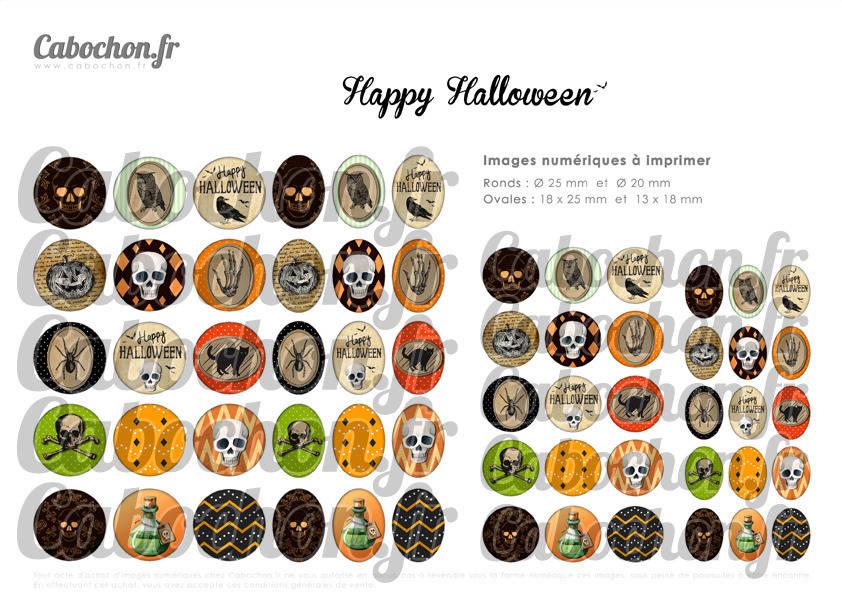 ° Happy Halloween ° - Page de collage digital cabochons - 60 images numériques à imprimer