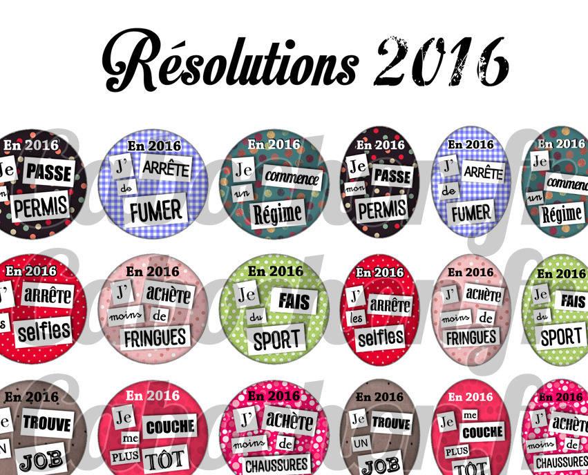 ° Résolutions 2016 ° - Page digitale pour cabochons - 60 images numériques à imprimer