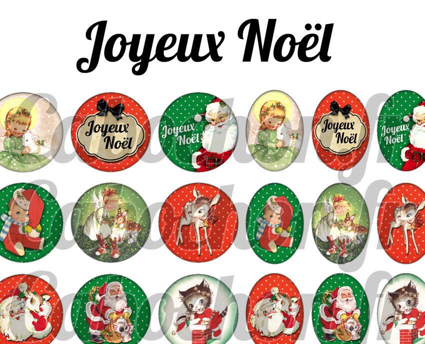 ° Joyeux Noël ll ° - Page de collage digital cabochons - 60 images numériques à imprimer
