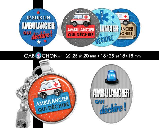 Ambulancier qui déchire ☆ 60 Images Digitales RONDES 25 et 20 mm OVALES 18x25 et 13x18 mm vsl taxi infirmier page cabochon porte