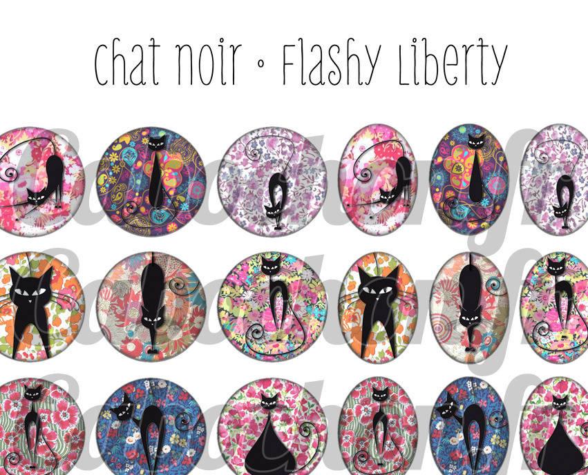 ° Chat Noir • Flashy Liberty ° - Planche digitale à imprimer - 60 images numériques à imprimer