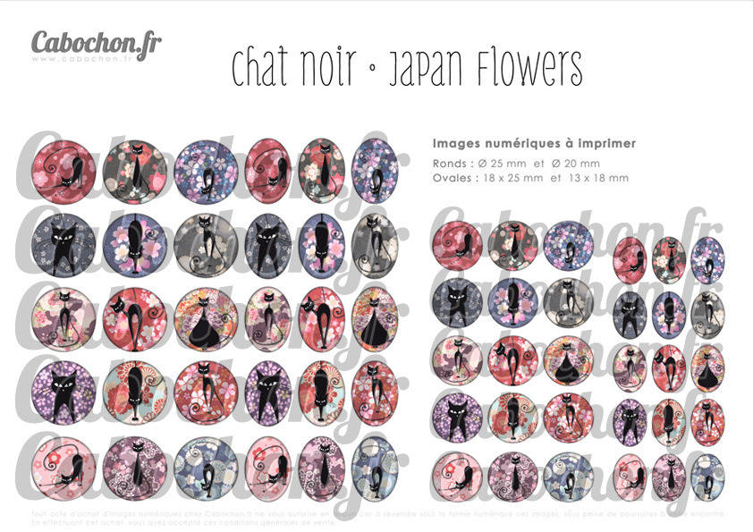 ° Chat Noir • Japan Flowers ° - Page digitale pour cabochons - 60 images