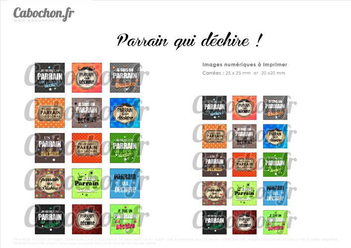 ° Parrain qui déchire ! ° - Page de collage cabochons - 30 images numériques à imprimer