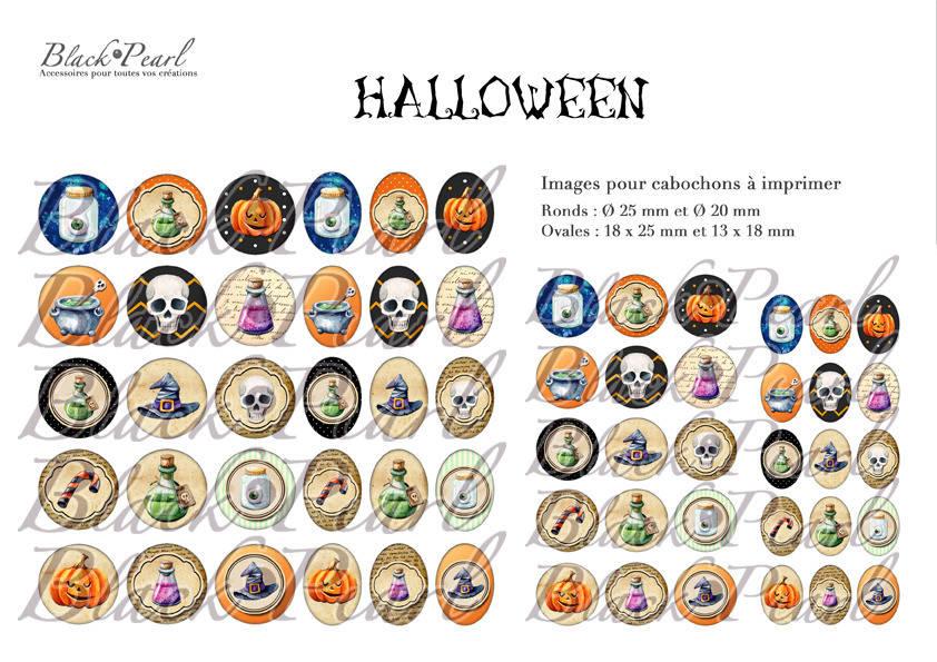 ° Halloween Vl ° - Page de collage digital cabochons - 60 images numériques à imprimer