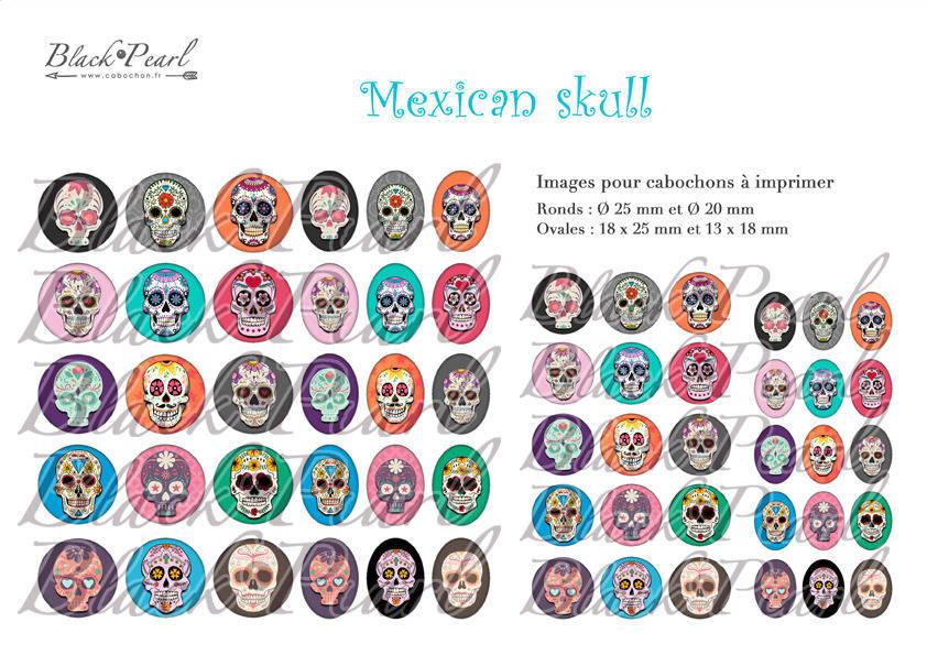 ° Mexican Skull lll ° - Page digitale pour cabochons - 60 images numériques à imprimer