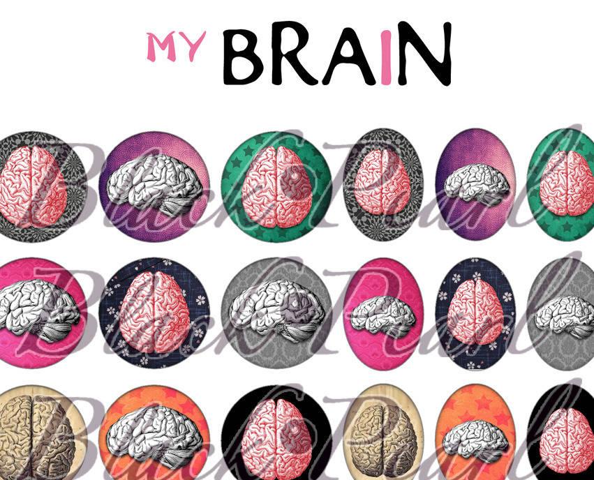 ° My Brain ° - Page de collage digital cabochons - 60 images numériques à imprimer