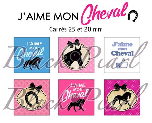 ° J'aime mon Cheval ° - Page de collage cabochons - 30 images numériques à imprimer
