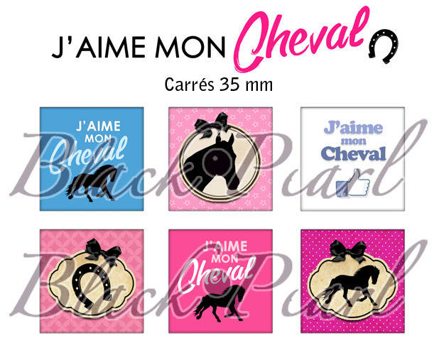 ° J'aime mon Cheval ° - Page de collage cabochons - 15 images numériques à imprimer