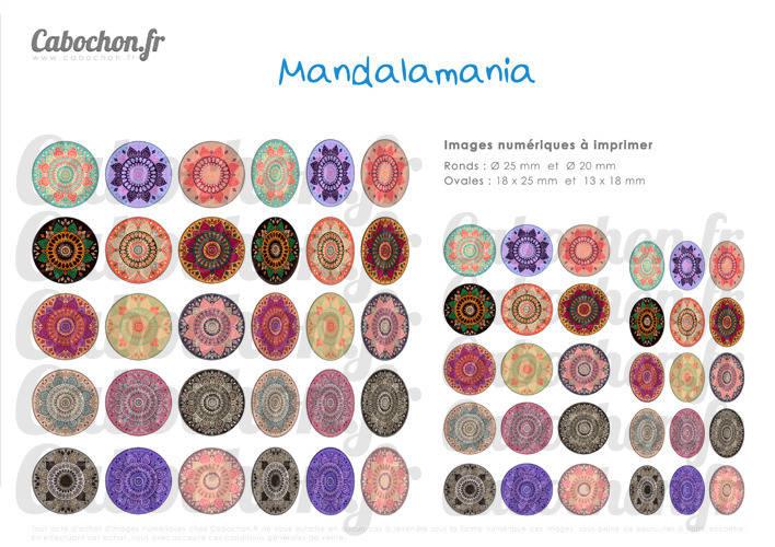Mandala Mania lll ☆ 60 Images Digitales RONDES 25 et 20 mm OVALES 18x25 et 13x18 mm couleur motif indien rosace page cabochon