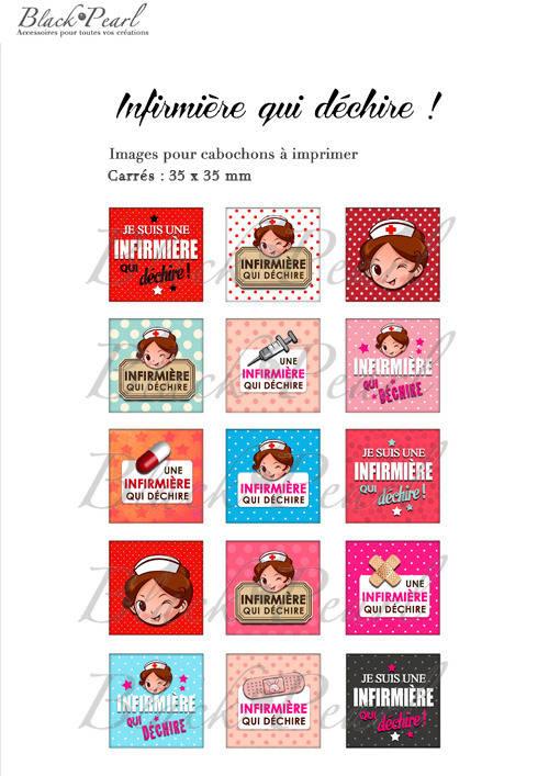 ° Infirmière qui déchire ! ° - Page de collage cabochons - 15 images numériques à imprimer