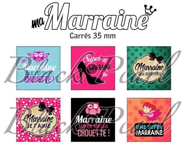 ° Ma Marraine ° - Page de collage cabochons - 15 images numériques à imprimer