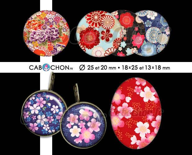 Japan Flowers ☆ 60 Images Digitales RONDES 25 et 20 mm et OVALES 18x25 et 13x18 mm Japon Fleur sakura Page cabochon bijoux