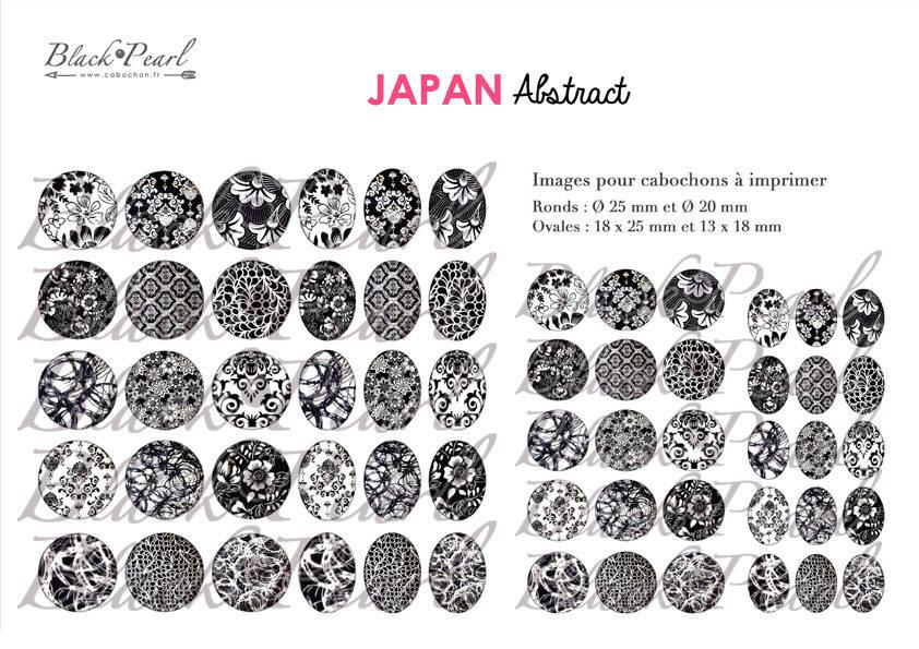 ° Japan Abstract ° - Page digitale pour cabochons - 60 images numériques à imprimer