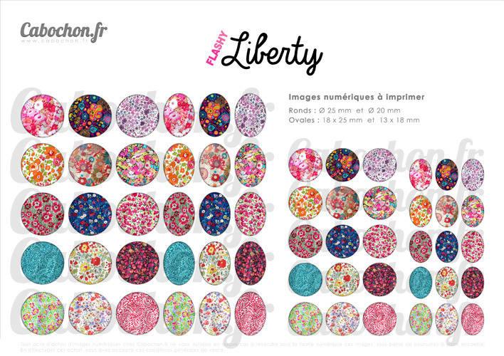 Flashy Liberty ☆ 60 Images Digitales RONDES 25 et 20 mm et OVALES 18x25 et 13x18 mm fleur fleurs london libertys motifs Page d'images